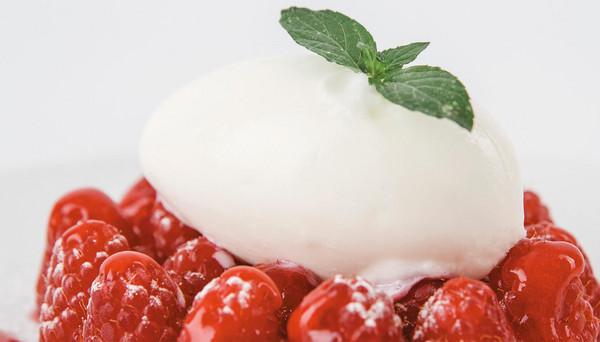 Mozzarella gelato with raspberries